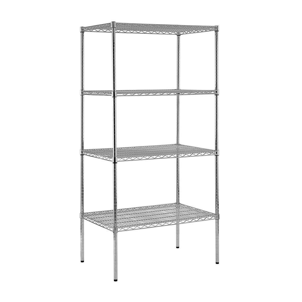 4-Shelf 74 in. H x 36 in. W x 24 in. D Heavy Duty NSF Certified Chrome Wire Shelving