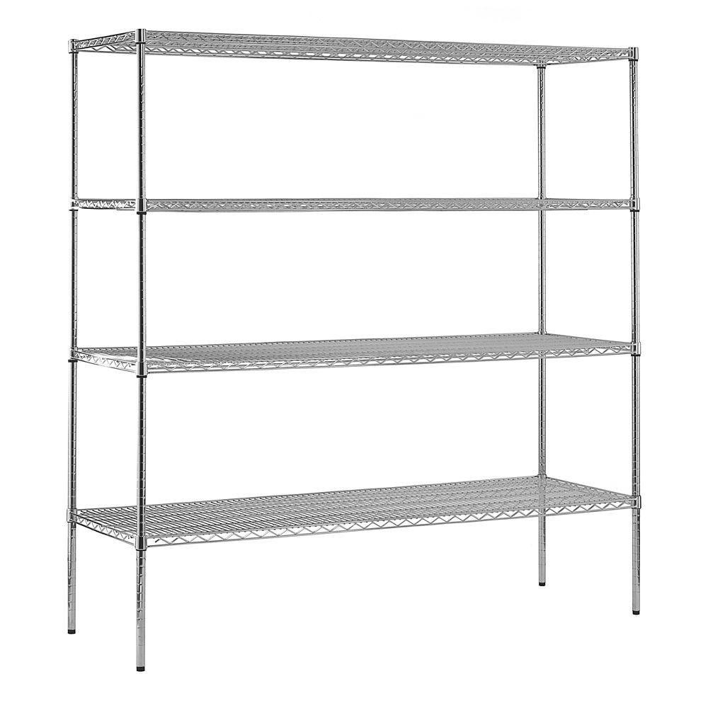 4-Shelf 74 in. H x 72 in. W x 24 in. D Heavy Duty NSF Certified Chrome Wire Shelving