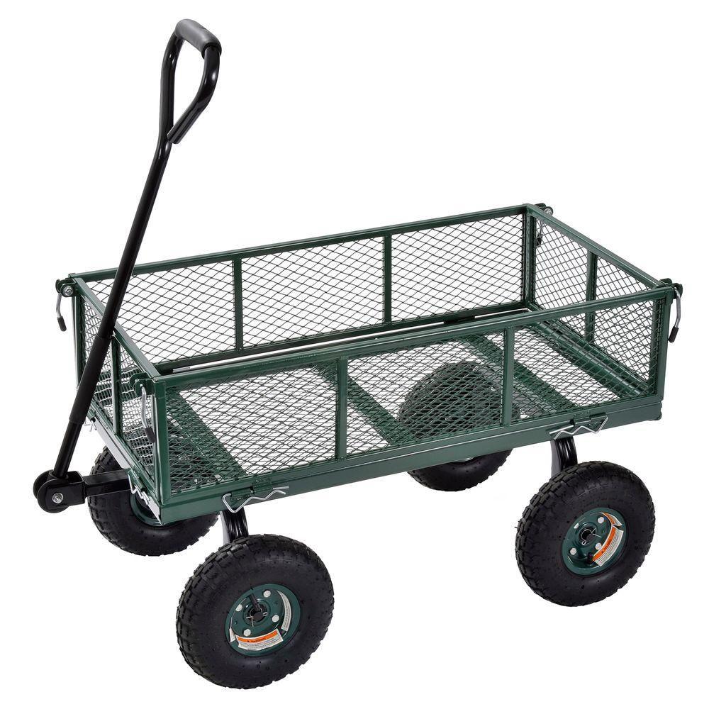 """Chariot robuste en acier de couleur verte 34"""" L. x 19"""" l."""