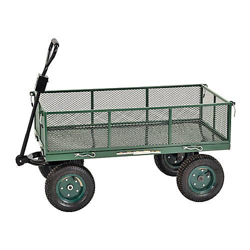 """Chariot jumbo robuste de couleur verte 48"""" L. x 24"""" l."""