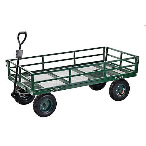 """Large chariot robuste de couleur verte 60"""" L. x 31"""" l."""