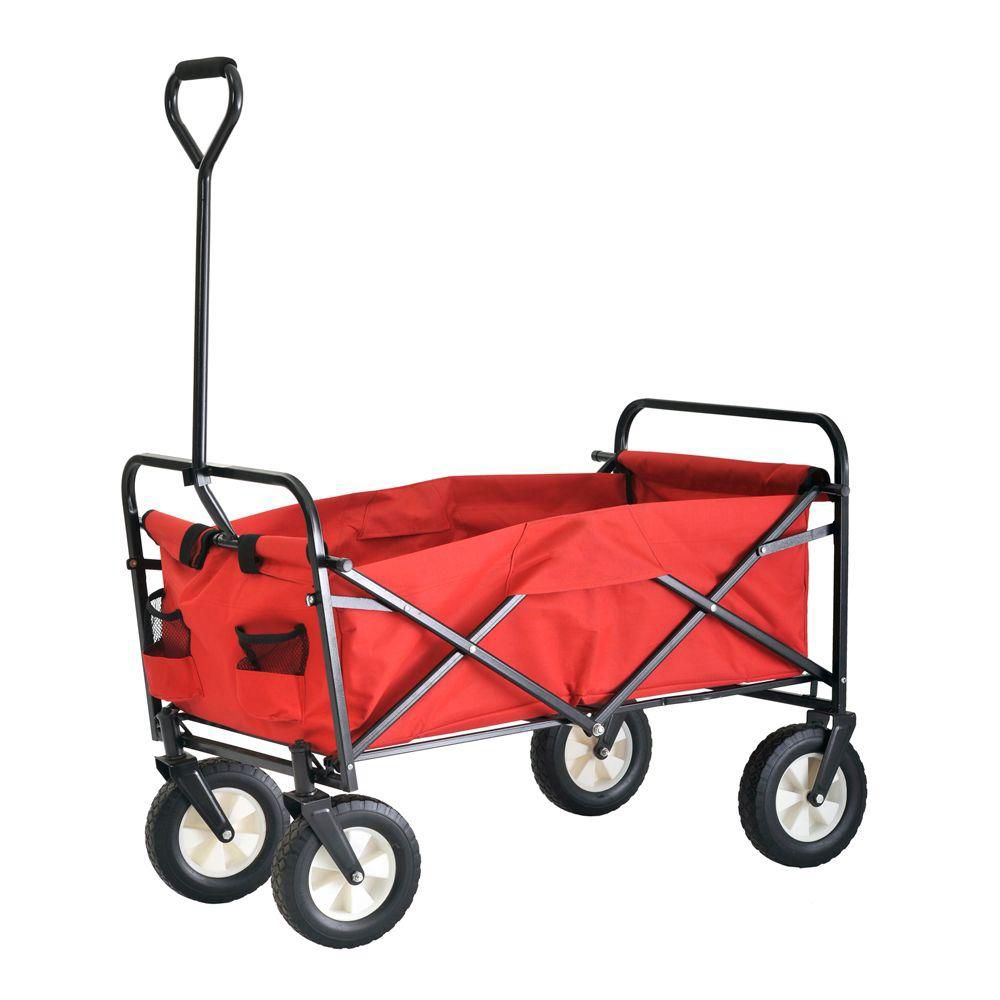 36 in. L x 22 in. W Red Light Duty Folding Wagon