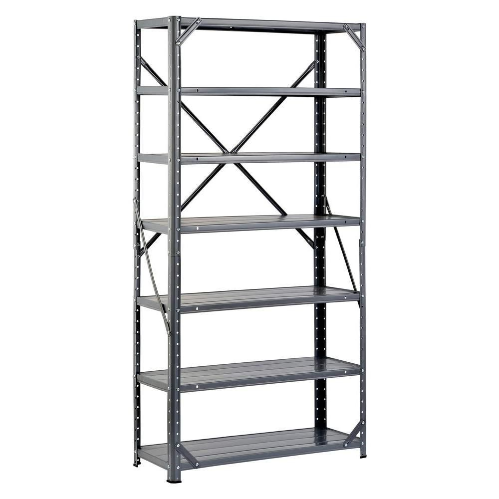 60 in. H x 30 in. W x 12 in. D Gray Steel Canning Shelving