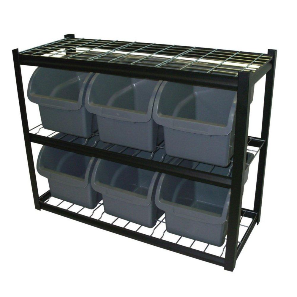6 Jumbo Bin 42 in. W X 16 in. D X 33 in. H Black Industrial Bin Unit Shelving