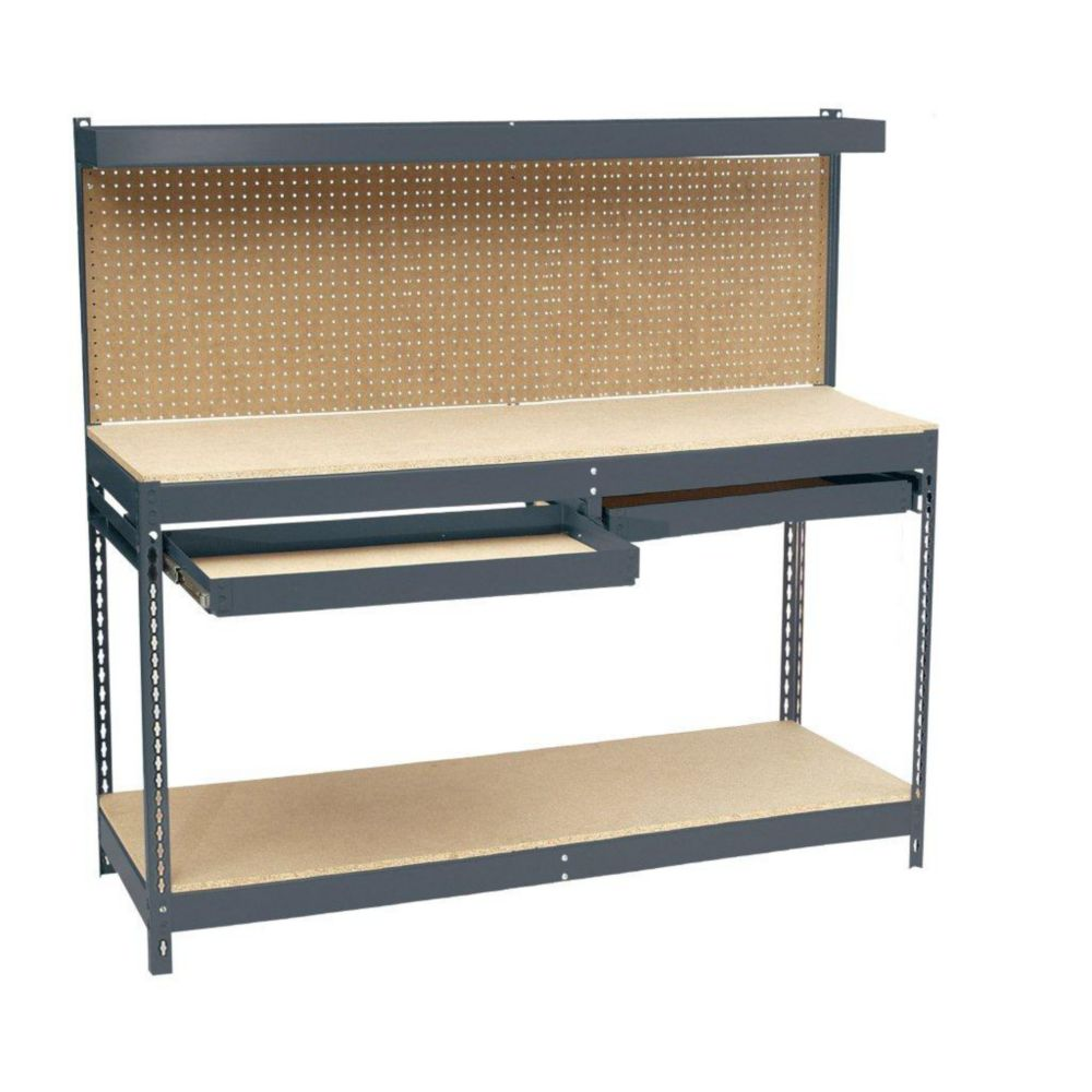 6 Ft. 72 in. W x 24 in. D x 60 in. H Heavy Duty Workbench with Double Drawer