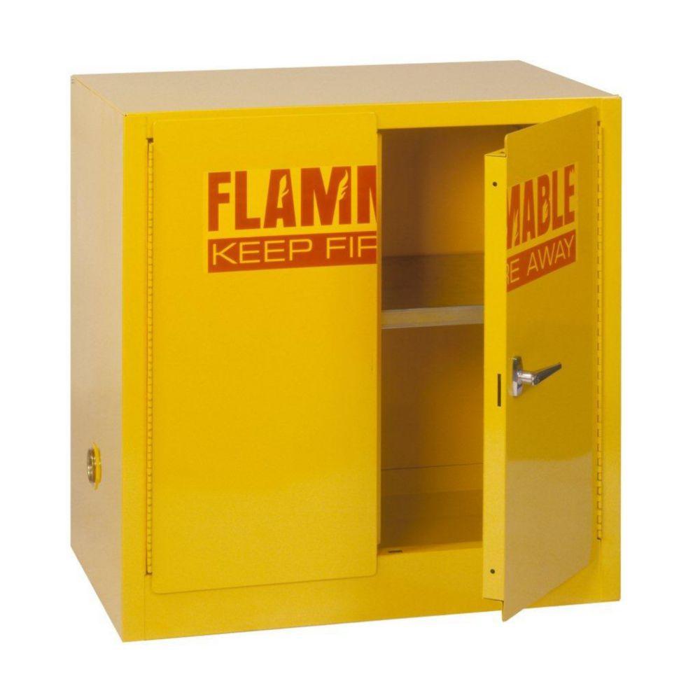 Edsal 35-inch H x 35-inch W x 22-inch D Steel Freestanding Flammable Liquid Storage Cabinet in Yellow