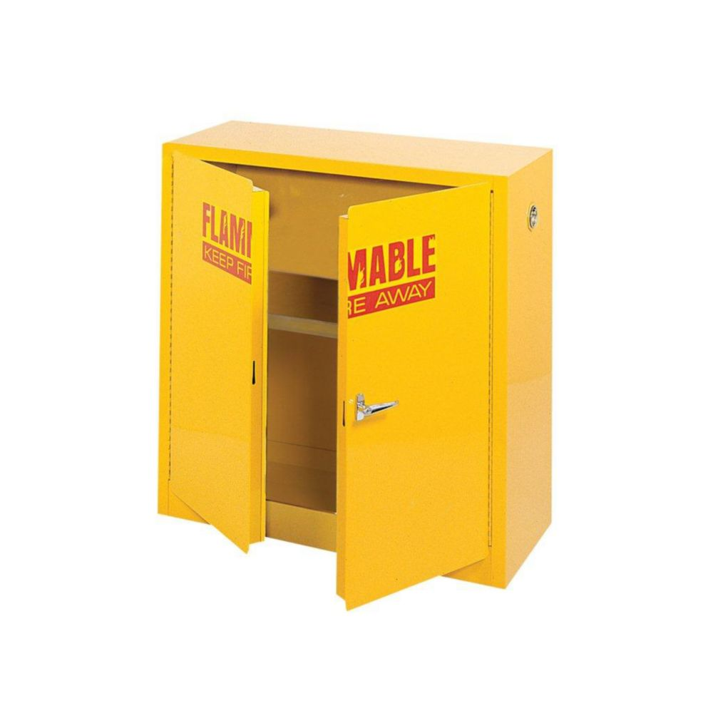 """Cabinet de sécurité inflammable jaune en acier43"""" l. x 18"""" p. x 44"""" h."""