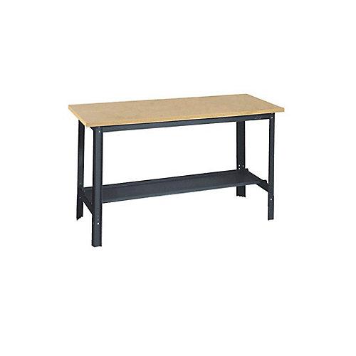 34-inch H x 48-inch W x 24-inch D Wooden Top Workbench with Shelf