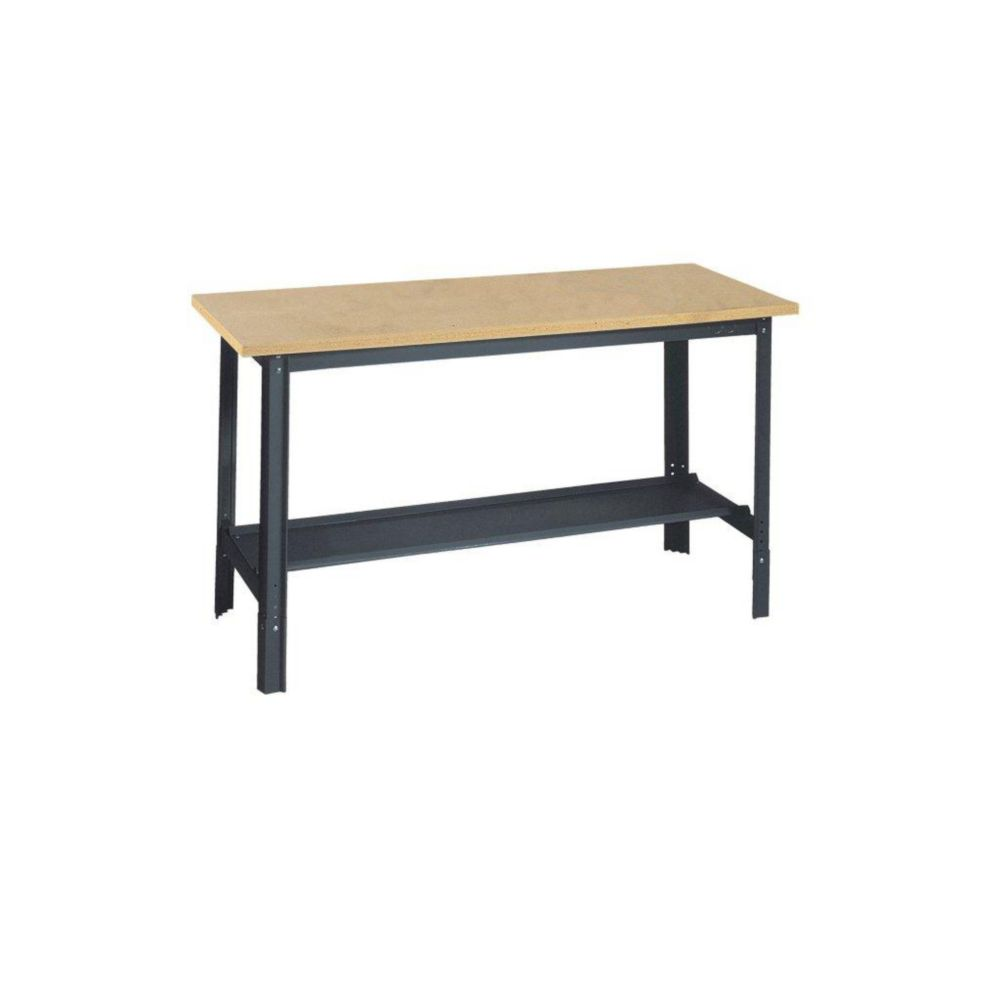 48 in. W x 24 in. D Commercial Adjustable-H Workbench with Wood Top