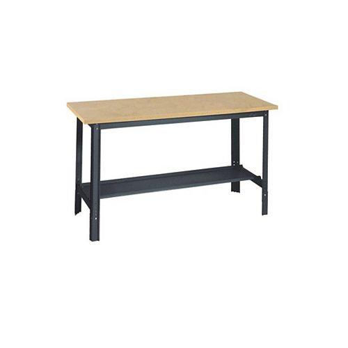 Edsal 34 in. H x 48 in. W x 24 in. D Wooden Top Workbench with Shelf