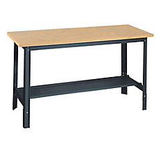 60 in. W x 24 in. D Commercial Adjustable-H Workbench with Wood Top