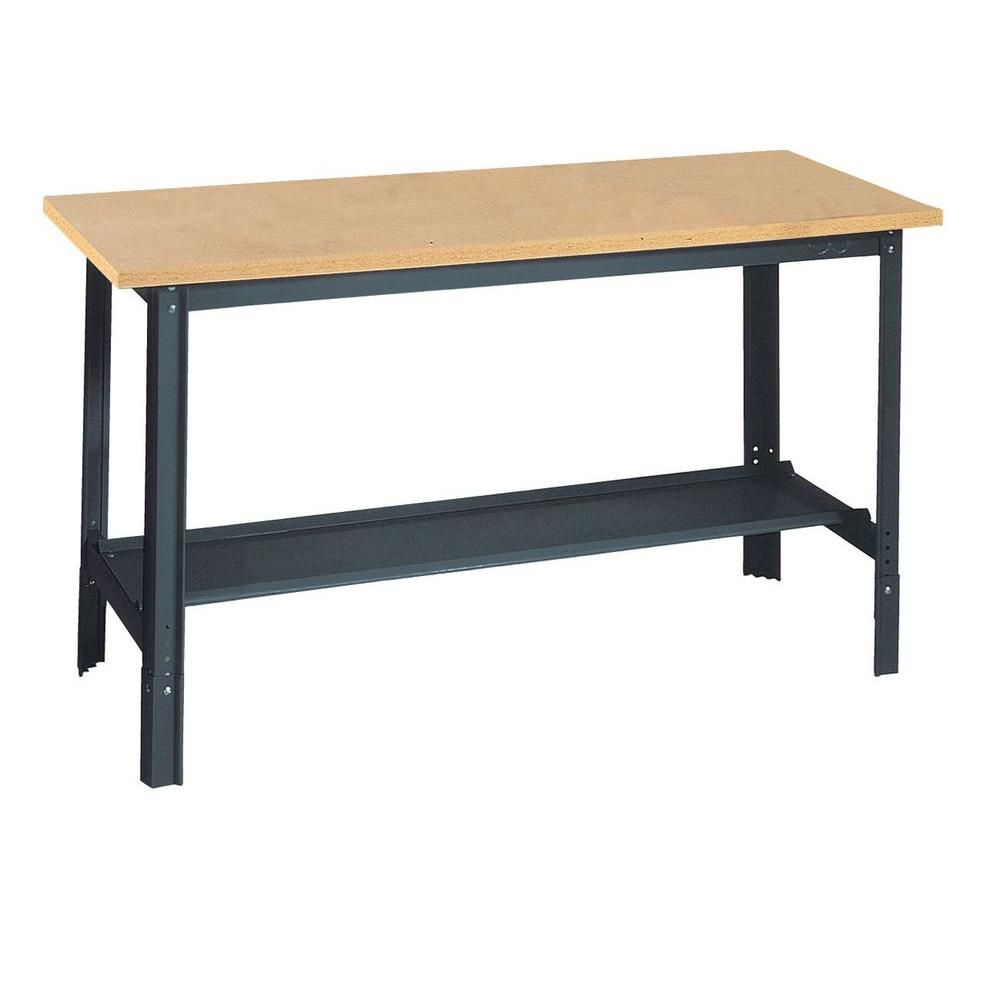 Edsal 60 in. W x 24 in. D Commercial Adjustable-H Workbench with Wood Top