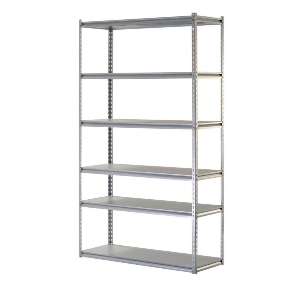 Six-Level Heavy Duty Steel Shelving Unit in Silver (48 inches W x 18 inches D x 78 inches H)