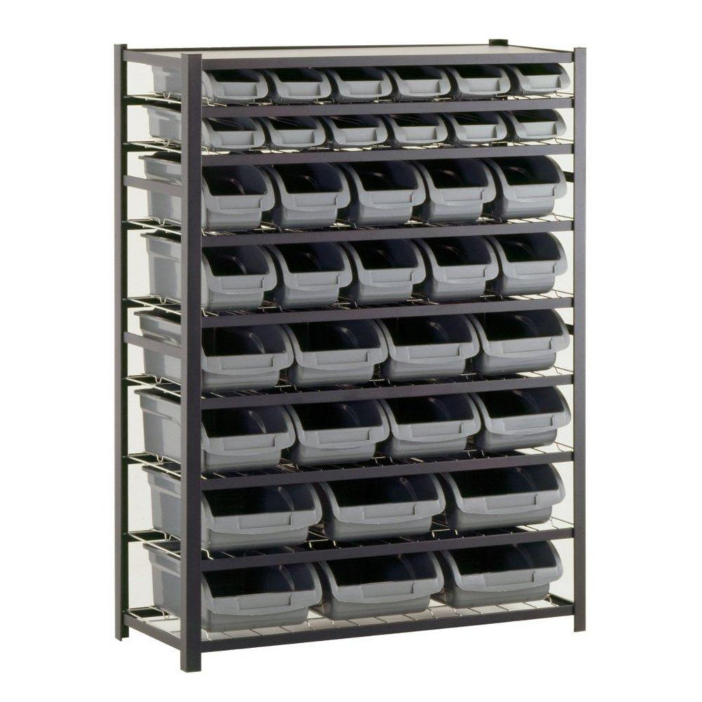 36 Bin 57 in. H x 44 in. W x 16 in. D Black Industrial Storage Rack
