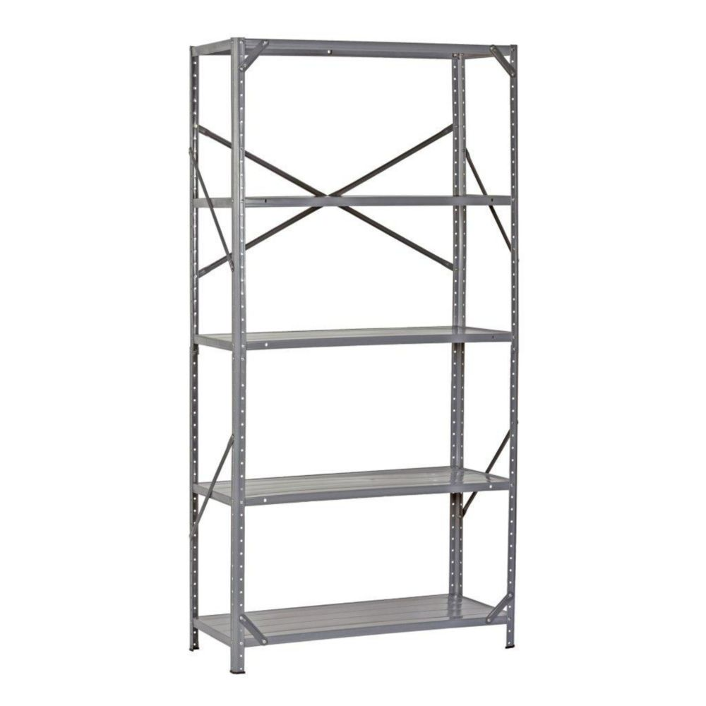 36 in. W x 12 in. D x 72 in. H Gray Heavy Duty Steel 5 Shelf Shelving Unit