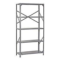 36-inch W x 12-inch D x 72-inch H 5-Shelf Heavy Duty Steel Shelving Unit in Grey