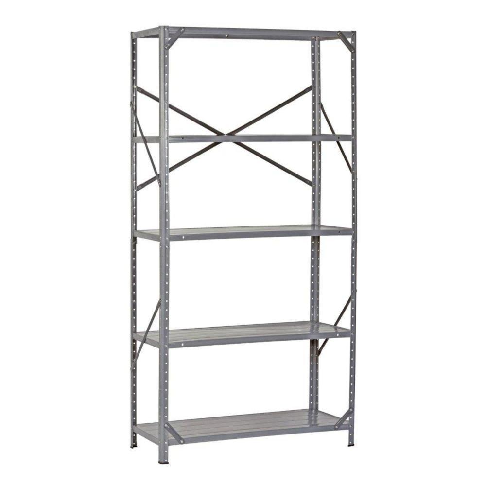 36 in. W x 12 in. D x 72 in. H Gray Heavy Duty Steel 5 Shelf Shelving Unit