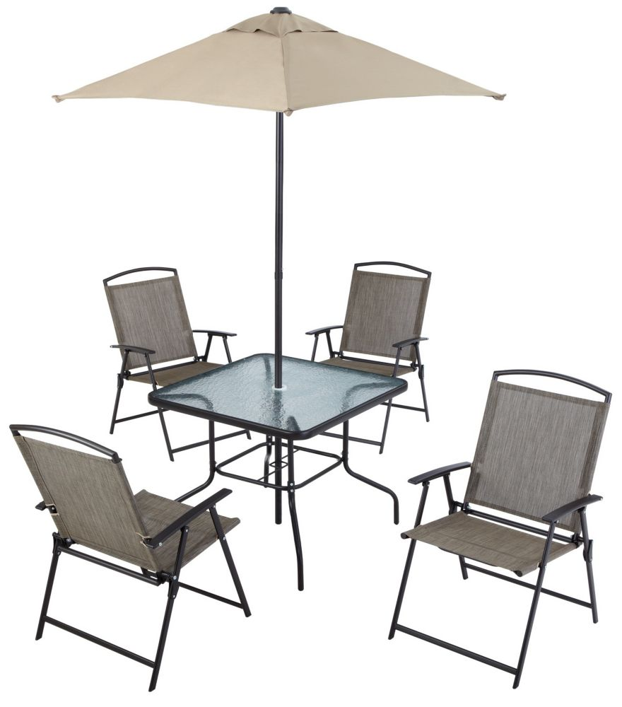 Mobilier de salle à manger pliant en toile de 6 pièces