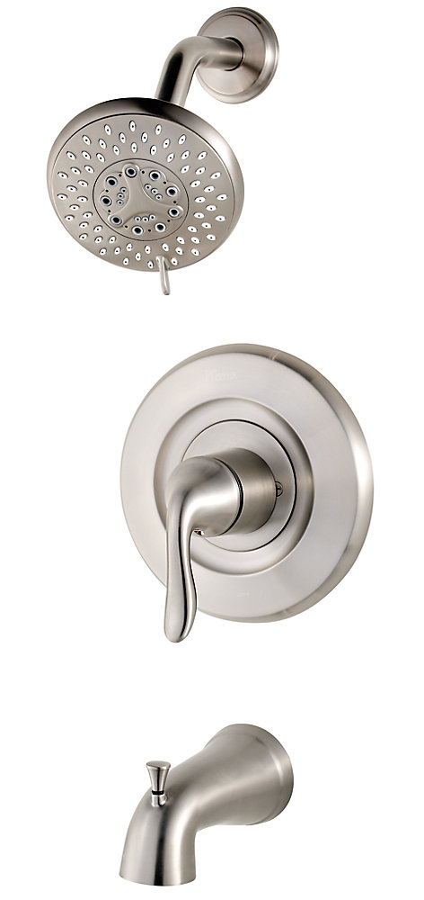Universal 5-Spray Wall-Mount Shower Faucet in Brushed Nickel with Showerhead