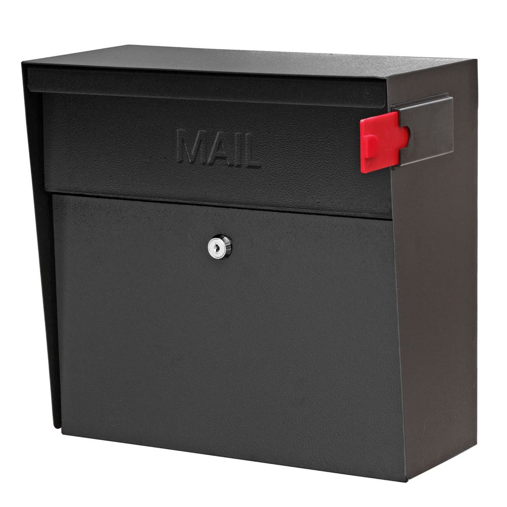 mail boss bo te aux lettres murale metro de mail boss avec serrure en noir fini home depot. Black Bedroom Furniture Sets. Home Design Ideas