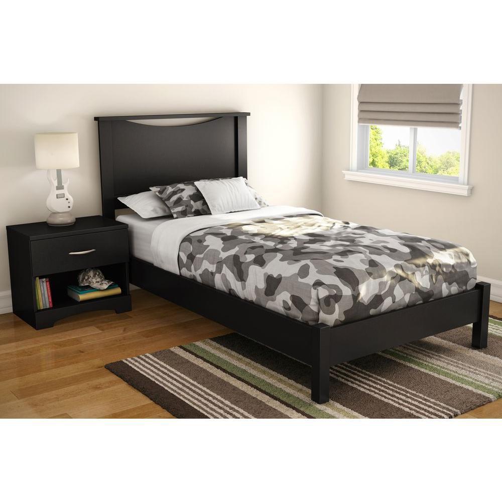 south shore t te de lit simple 39 39 39 majestic au fini noir solide home depot canada. Black Bedroom Furniture Sets. Home Design Ideas