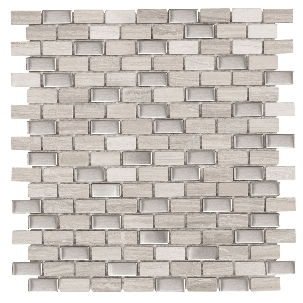 Brick Boulevard 11.25 Inch x 12 Inch x 8mm Stone Stainless Mosaic Wall Tile