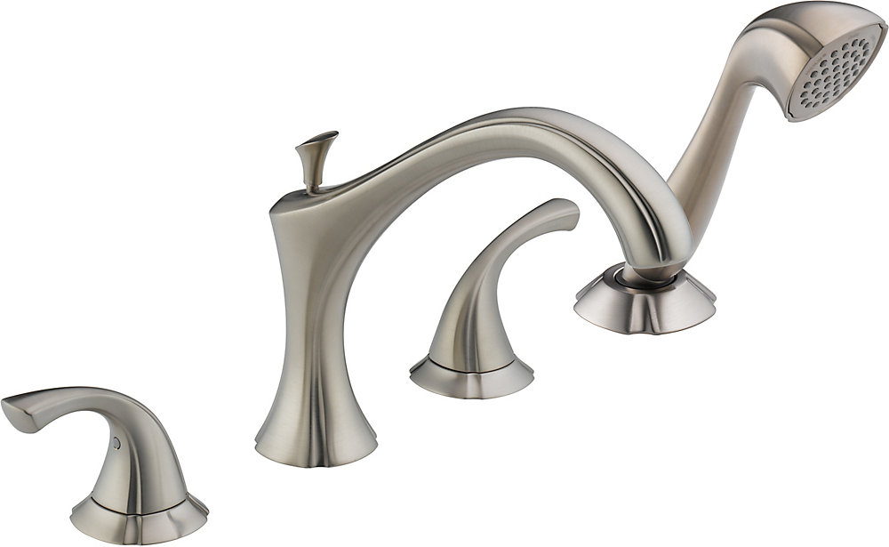 Addison 2-Handle Roman Bath Faucet with Hand Shower in Stainless Finish