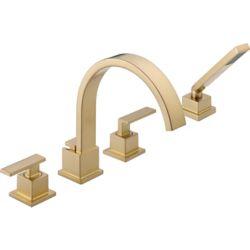 Delta Vero 2-Handle Roman Bath Faucet with Hand Shower in Champagne Bronze Finish