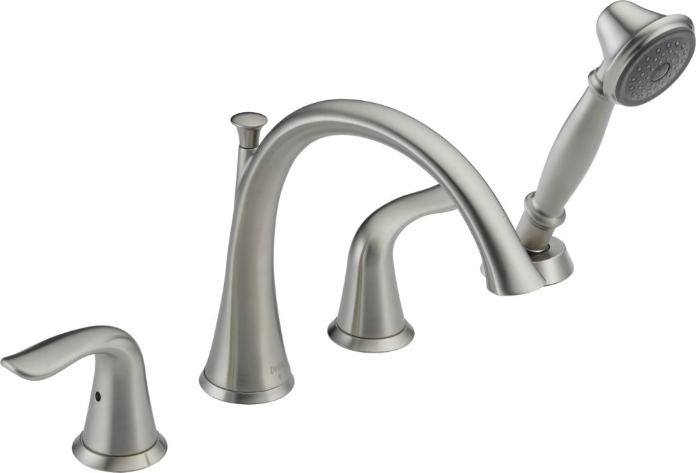 Lahara 2-Handle Roman Bath Faucet with Hand Shower Faucet in Stainless Finish