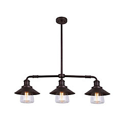 INDI 3 Light Clear Glass ORB Pendant in Oil-Rubbed Bronze