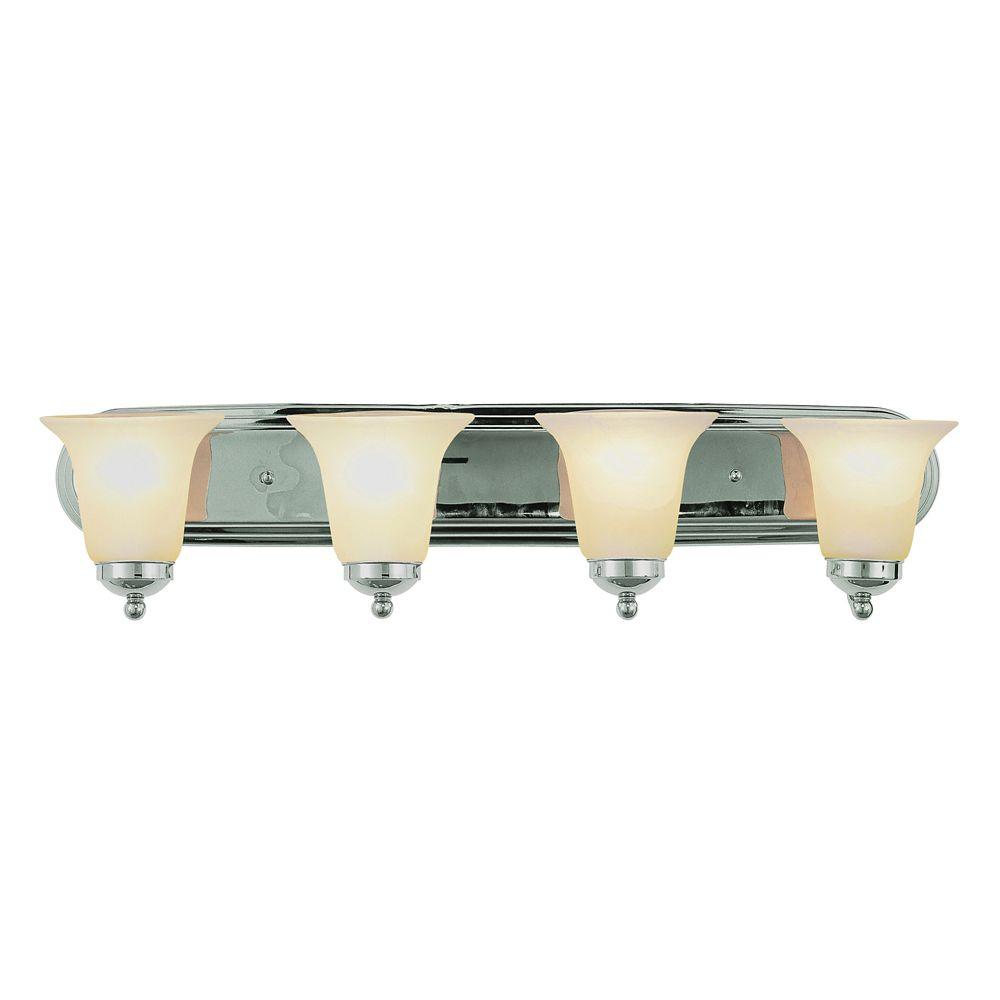 Bel Air Lighting Chromed with Marble Glass 4 Light Vanity