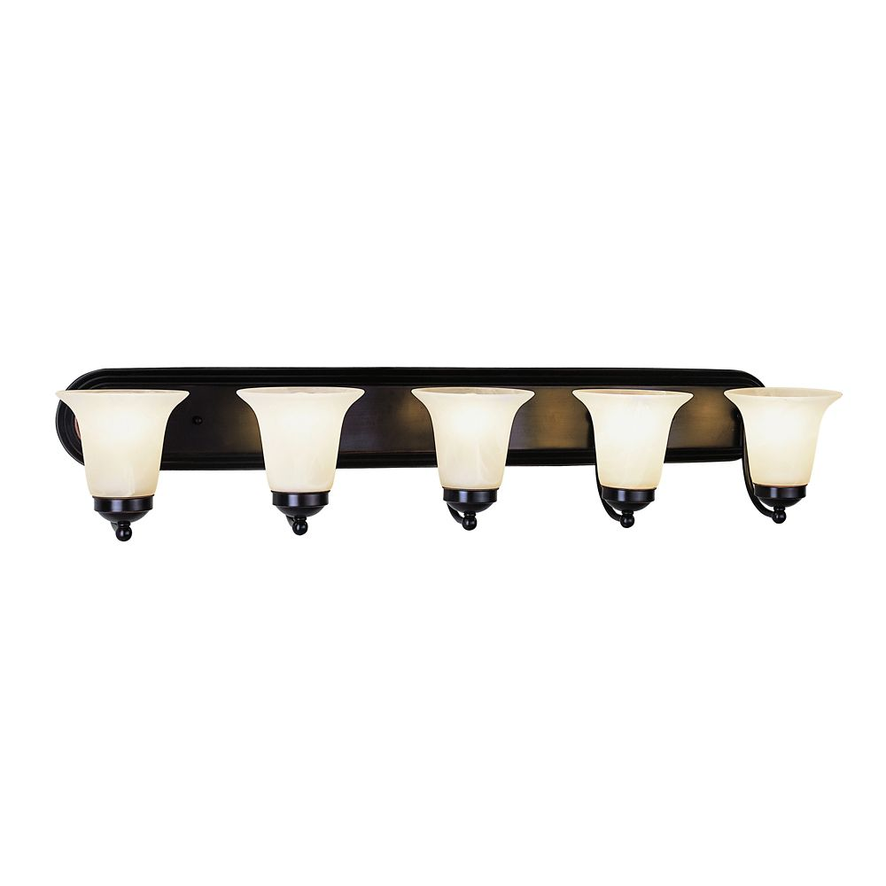 Oiled Bronze with Marble Glass 5 Light Vanity