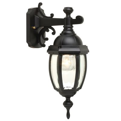 Vintage III Series, Black Finish, Clear Beveled Glass Panels, Downward Wall Mount