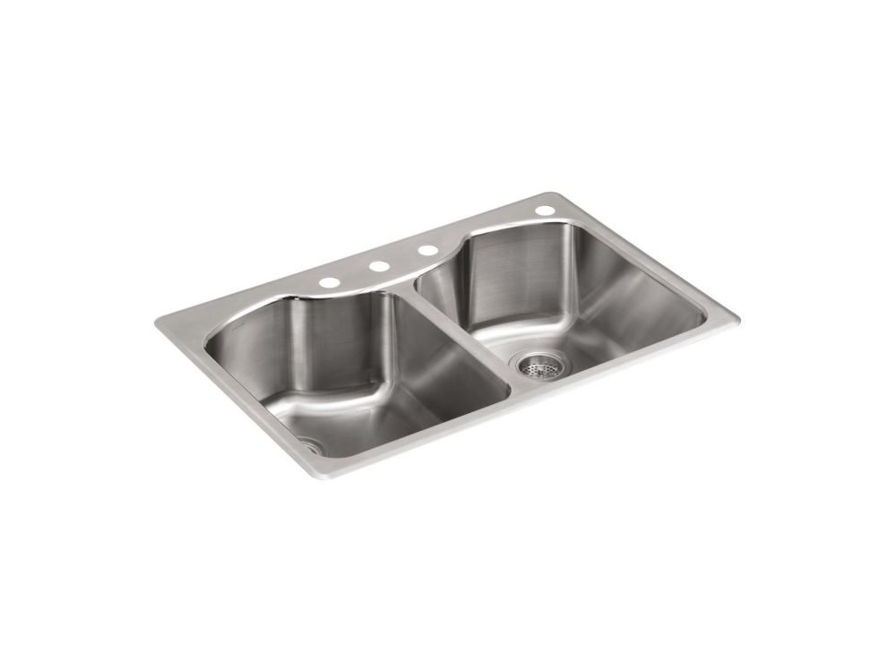 Évier de cuisine Octave, en acier inoxydable, à double cuvettes à monture supérieure