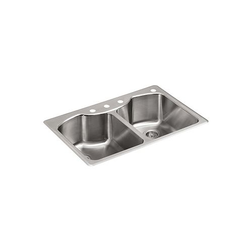 KOHLER Octave Top-Mount Double Bowl Kitchen Sink in Stainless Steel