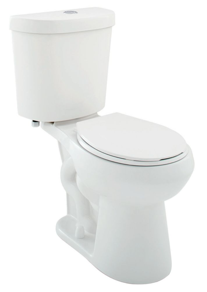 All-In-One 2-Piece 6 LPF Dual Flush Round Bowl Toilet in White