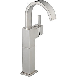 Vero Single Hole 1-Handle High Arc Bathroom Faucet in Stainless Steel with Lever Handle
