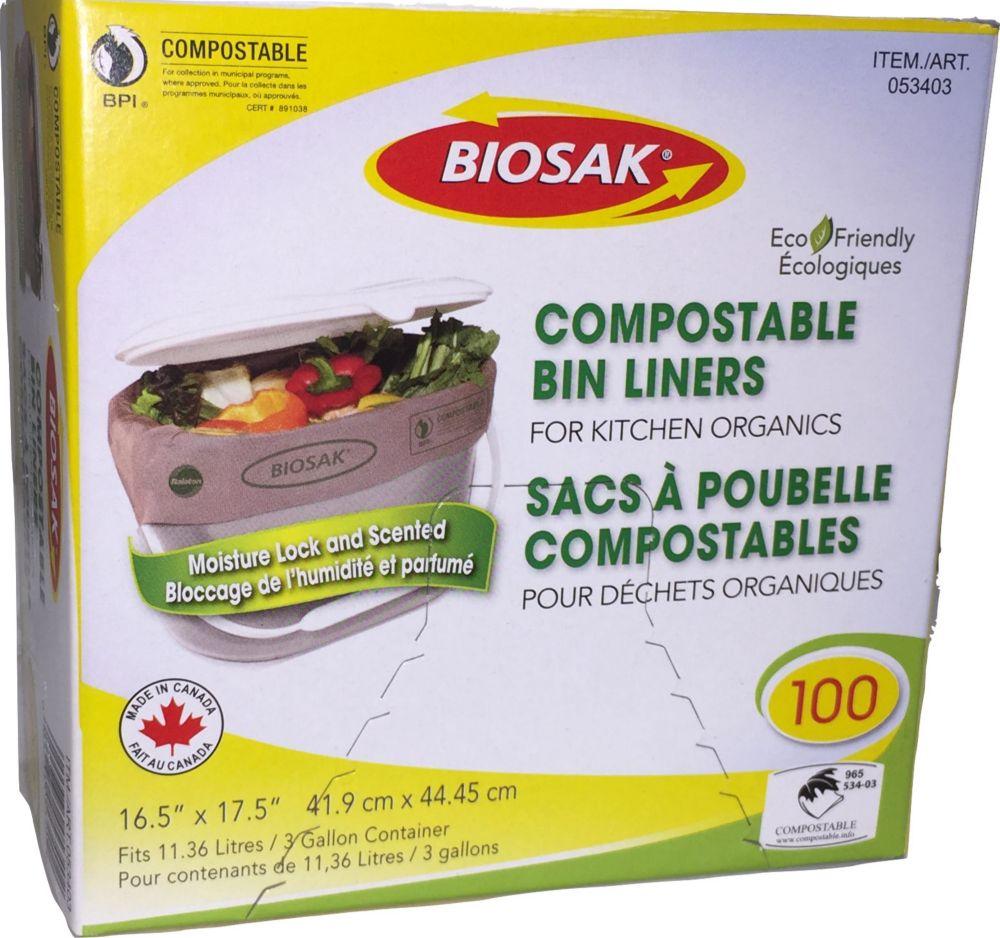 100 Sacs compostables pour déchets organiques
