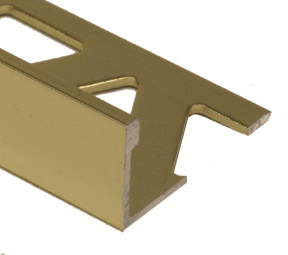 Aluminum Tile Edge 3/8 Inch(10MM) - 8 Foot - Bright Brass - Pack of 10