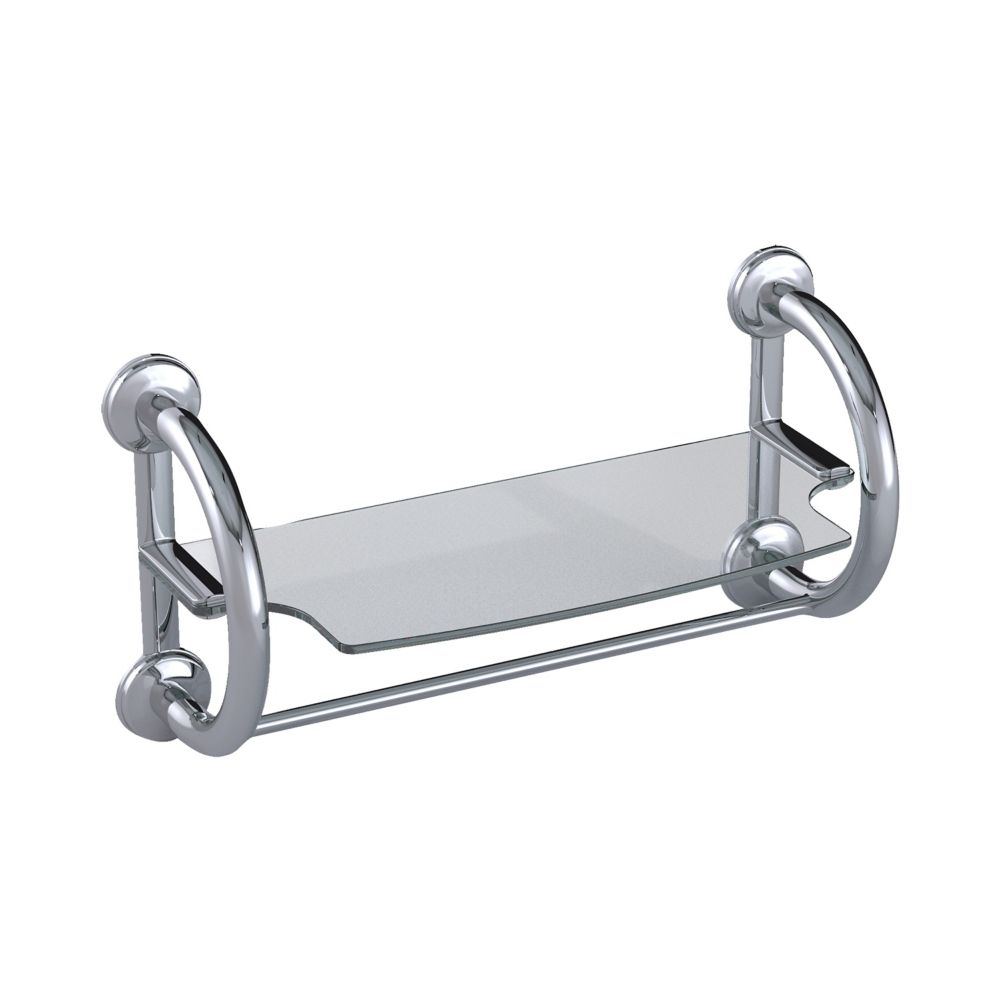 Grabcessories 2-in-1 Grab Bars Towel Shelf Polished Chrome