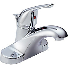 Foundations 4-inch Single-Handle Low-Arc Bathroom Faucet in Chrome Finish