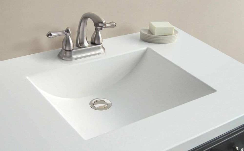 37 inch w x 22 inch d white cultured marble vanity top with wave bowl 48546 canada discount - Cultured marble bathroom vanity tops ...