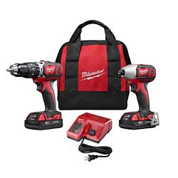 Milwaukee Tool M18 18V Lithium-Ion Cordless Hammer Drill/Impact Driver Combo Kit (2-Tool) with (2) 1.5Ah Batteries, Charger, Tool Bag