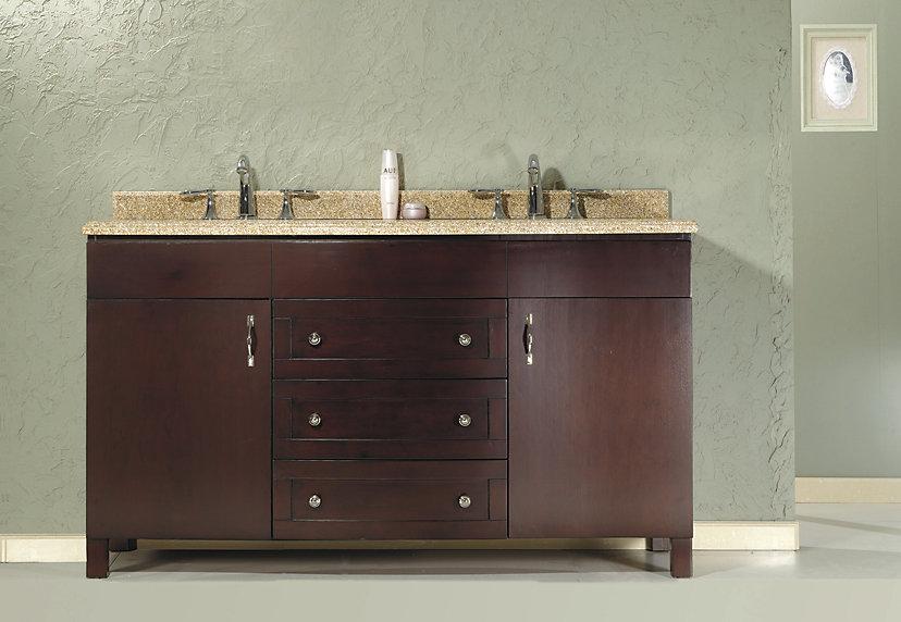 Matty 23.39-inch W 3-Drawer 2-Door Vanity in Brown With Granite Top in Beige Tan, Double Basins