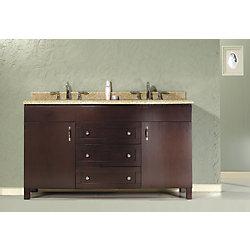 Ove Decors Matty 23.39-inch W 3-Drawer 2-Door Vanity in Brown With Granite Top in Beige Tan, Double Basins