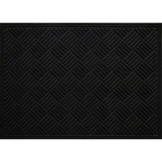 Contours Black 3 ft. x 4 ft.  Indoor/Outdoor Rectangular Door Mat