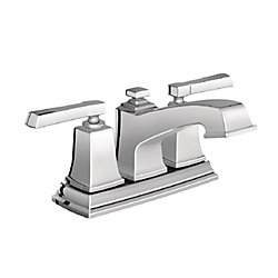 Boardwalk 4-Inch Centerset 2-Handle Low Arc Bathroom Faucet with Lever Handles in Chrome