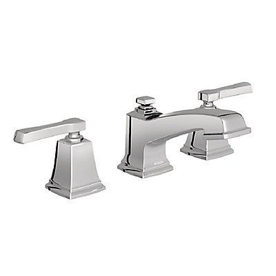 moen boardwalk two handle low arc bathroom faucet in chrome the