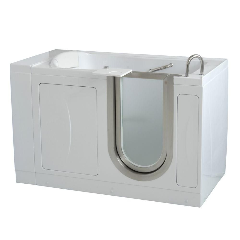 Royal 4 Feet 4-Inch Walk-In Non Whirlpool Bathtub in White with Swivel Tray