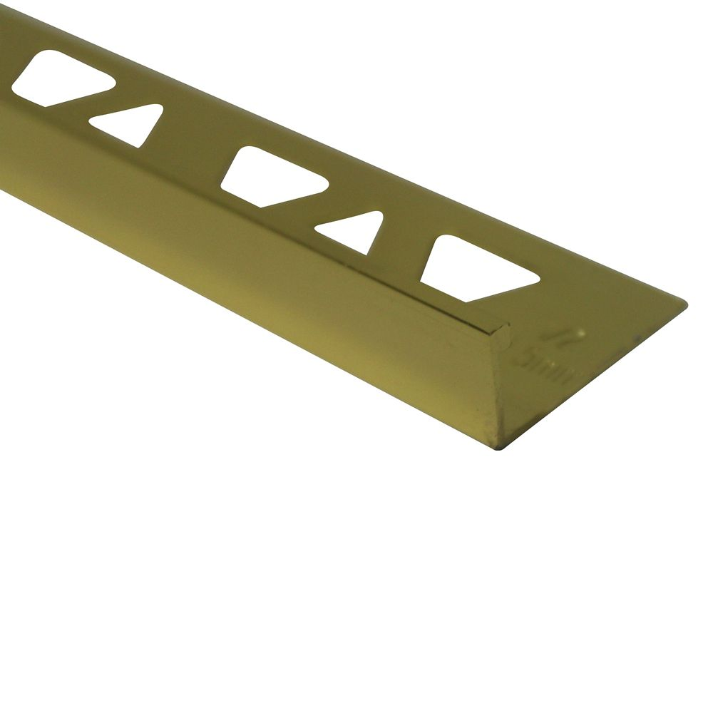 Aluminum Tile Edge 1/2 Inch(12MM) - 8 Foot - Bright Brass - Pack of 10